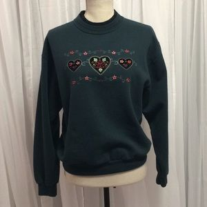 Vintage Holiday Top Stitch Embroidered Dark Green